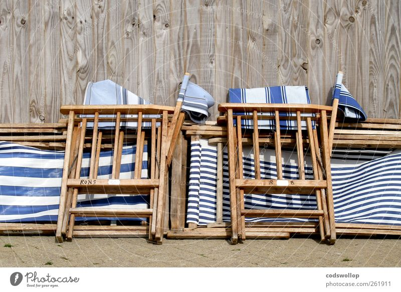 tenby stripe Lifestyle Wellness Relaxation Vacation & Travel Summer Summer vacation Wood Blue White Solidarity Stagnating Tradition Attachment Folding chair