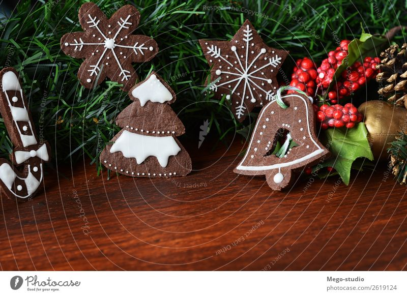 Christmas cookies. xmas holiday concept Christmas & Advent Green Tree Winter Wood Feasts & Celebrations Decoration Table String Delicious Tradition Dessert