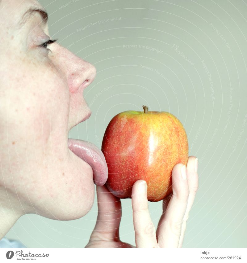 Human being Woman Adults Face Life Emotions Eating Healthy Moody Food Fresh Nutrition To hold on Apple To enjoy Appetite