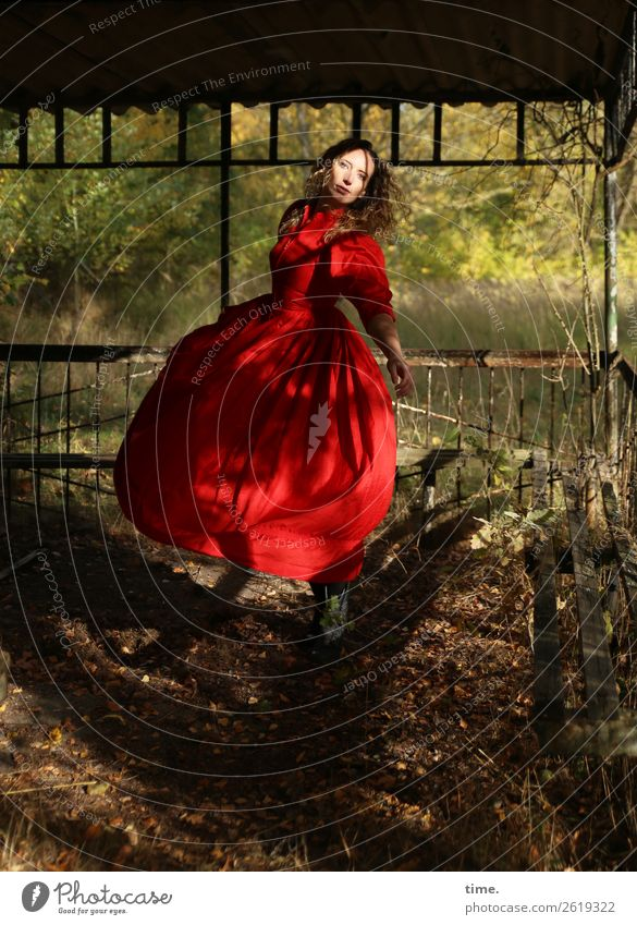 The dancer Feminine Woman Adults 1 Human being Beautiful weather Forest Manmade structures Gardenhouse Dress Blonde Long-haired Curl Rotate Looking Dance