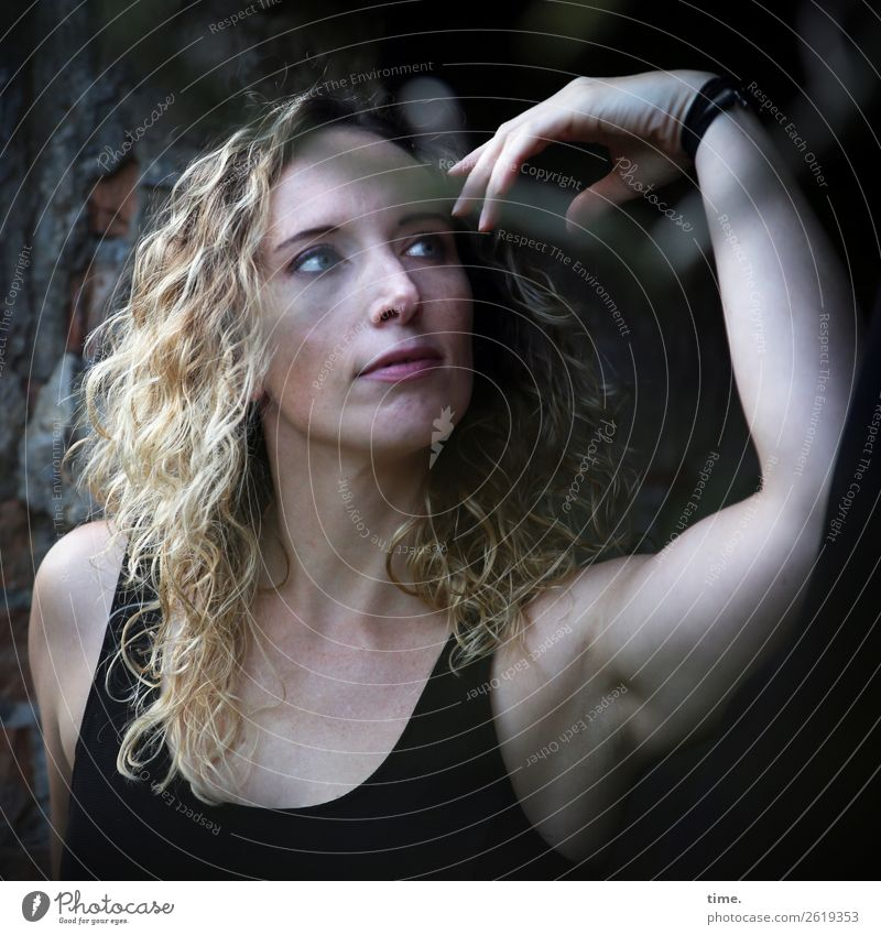 Martina Feminine Woman Adults 1 Human being Ruin lost places T-shirt Blonde Long-haired Curl Observe Looking Beautiful Self-confident Cool (slang) Watchfulness