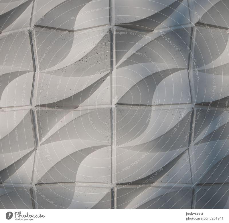 Square waveform Wall cladding Relief Realism Facade Concrete Ornament Elegant Retro Gray Inspiration Curved Undulation Seam GDR Shadow play Three-dimensional