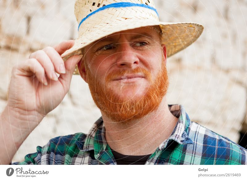 Red haired man Style Hair and hairstyles Human being Man Adults Hat Red-haired Moustache Beard Old Stand Cool (slang) Hip & trendy Modern Cute Blue