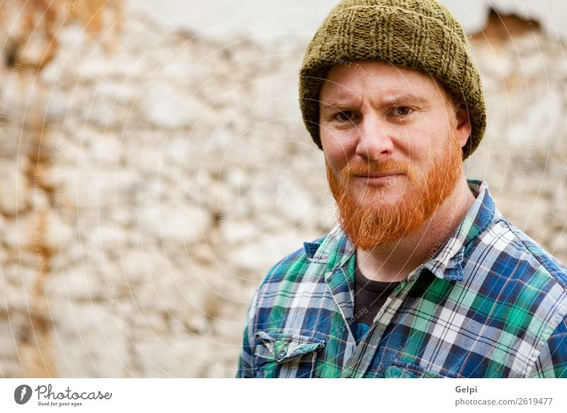 Red haired man Style Hair and hairstyles Human being Man Adults Hat Red-haired Moustache Beard Old Stand Cool (slang) Hip & trendy Modern Cute Slimy Blue