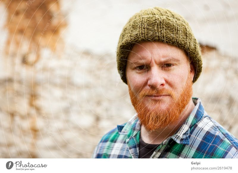 Hipster man with red beard Style Hair and hairstyles Human being Man Adults Hat Red-haired Moustache Beard Old Stand Cool (slang) Hip & trendy Modern Cute Slimy