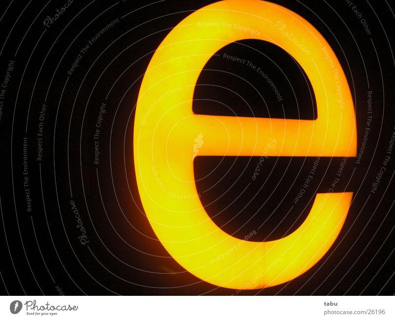 yellow Lamp Light Letters (alphabet) Yellow Night E