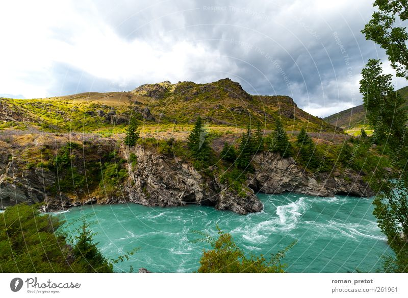 white water Mountain Landscape Water Clouds River Jump New Zealand Rough Sky voyage Turquoise Rock Day panoramic view Green whirlpools mountains Hill