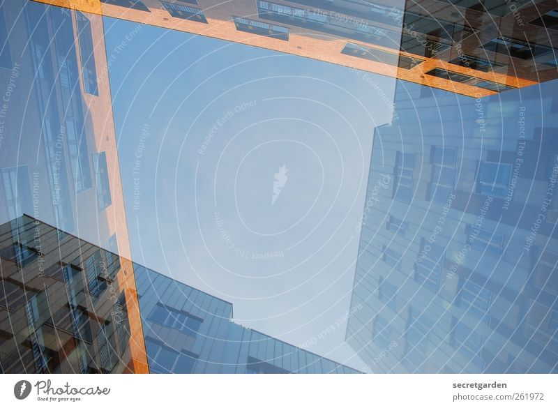 and facade. Cloudless sky Beautiful weather Harbor city Hamburg Town Downtown Skyline High-rise Manmade structures Building Architecture Glass Blue Yellow