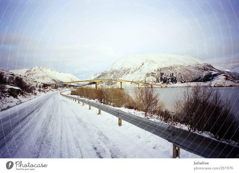 Winter scenery with bridge between islands in Norw Ocean Street Landscape Snow Mountain Island Bridge Gloomy River Norway Scandinavia North The Arctic