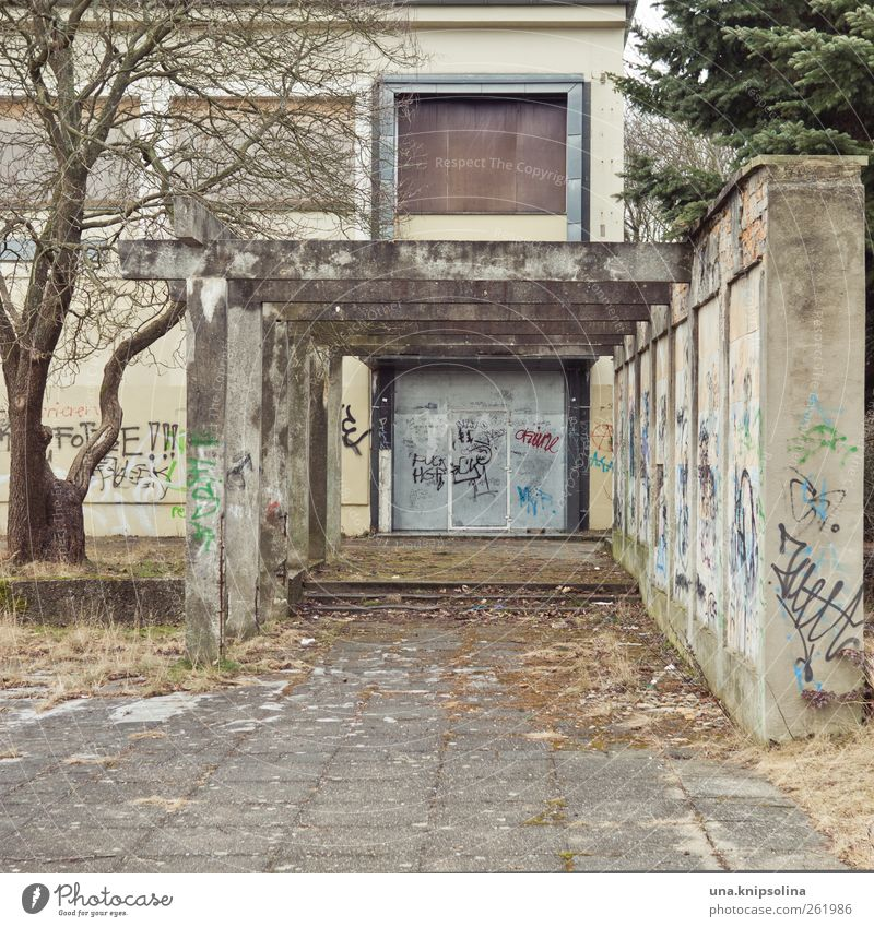 culture Hoyerswerda GDR Outskirts Ruin Building Wall (barrier) Wall (building) Window Door pergola Concrete Graffiti Old Dirty Sharp-edged Broken Gloomy Concern