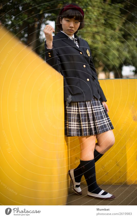 my yellow playground III School Study Student Human being Feminine Young woman Youth (Young adults) 1 18 - 30 years Adults Youth culture Wall (barrier)