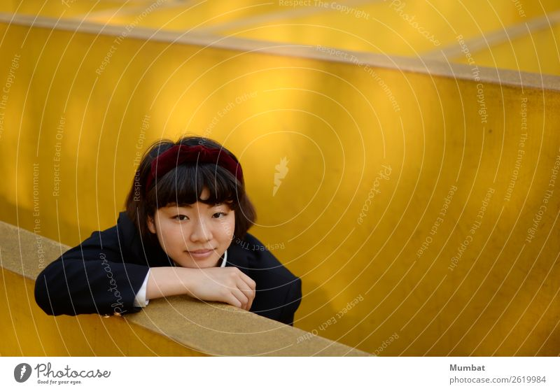 my yellow playground II Study Student Human being Feminine Young woman Youth (Young adults) 1 18 - 30 years Adults Playground Wall (barrier) Wall (building)