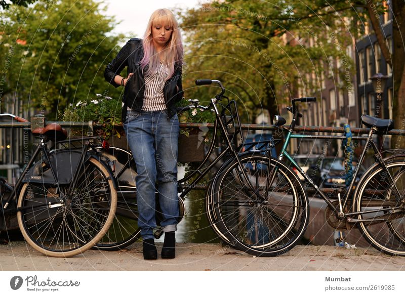 Jordaan Vacation & Travel City trip Bicycle Human being Feminine Young woman Youth (Young adults) 1 18 - 30 years Adults Youth culture Subculture Rockabilly