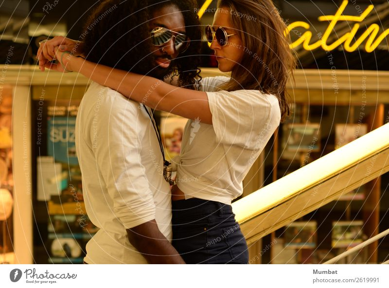 Theatiner Human being Youth (Young adults) Young woman Young man Eroticism Window 18 - 30 years Adults Yellow Feminine Style Couple Together Masculine Retro