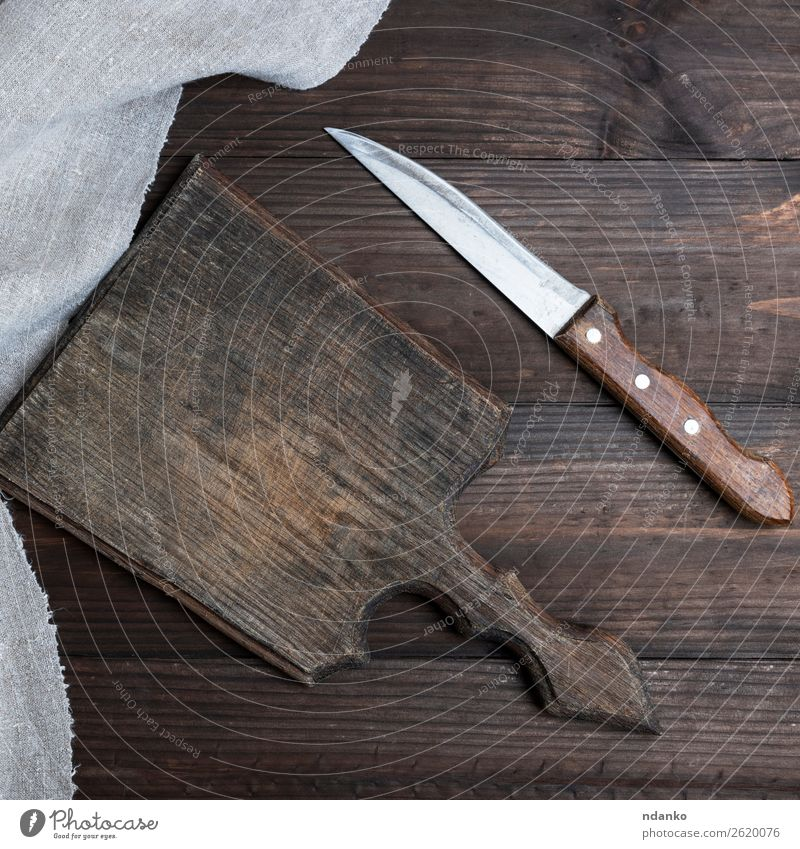 old brown wooden cutting board Knives Table Kitchen Nature Wood Old Retro Brown knife background Blank chopping cook cooking Cut empty food Grunge