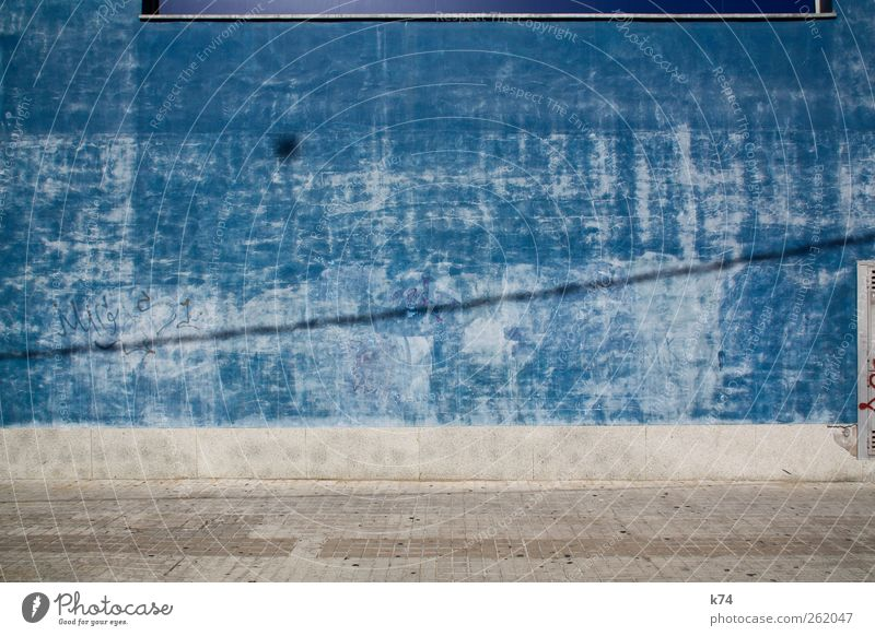 blue wall Wall (barrier) Wall (building) Street Lanes & trails Stone Old Large Blue Flake off Background picture Colour Colour photo Exterior shot Deserted