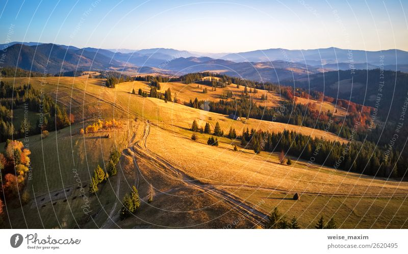Aerial panorama view of autumn mountain range Sky Nature Vacation & Travel Beautiful Green Landscape Red Tree House (Residential Structure) Forest Mountain