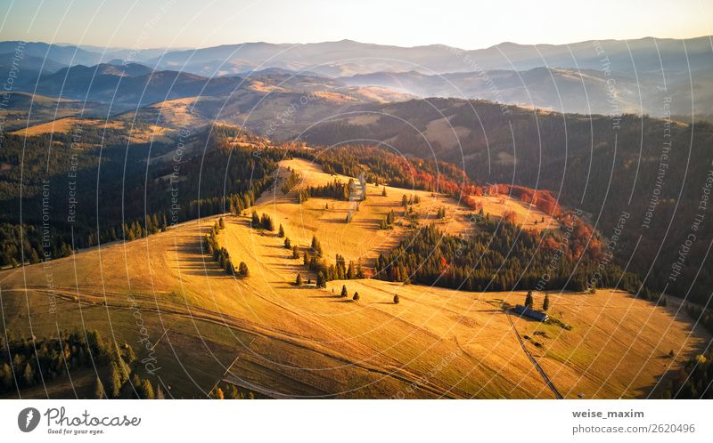 Autumn sunset in mountains. Colorful fall woodland Vacation & Travel Tourism Far-off places Freedom Expedition Mountain House (Residential Structure) Nature
