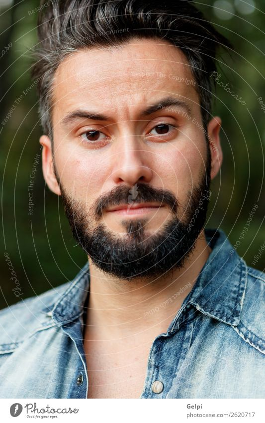 Young handsome bearded hipster Lifestyle Style Hair and hairstyles Human being Man Adults Street Shirt Moustache Beard Authentic Cool (slang) Hip & trendy Funny