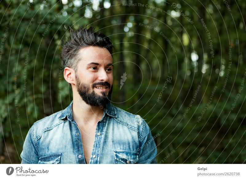 Young handsome bearded hipster man Lifestyle Style Hair and hairstyles Human being Man Adults Street Shirt Moustache Beard Authentic Cool (slang) Hip & trendy