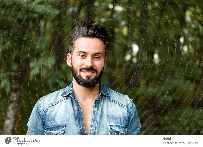 Young handsome bearded hipster man Lifestyle Style Hair and hairstyles Human being Man Adults Street Moustache Beard Authentic Cool (slang) Hip & trendy Funny
