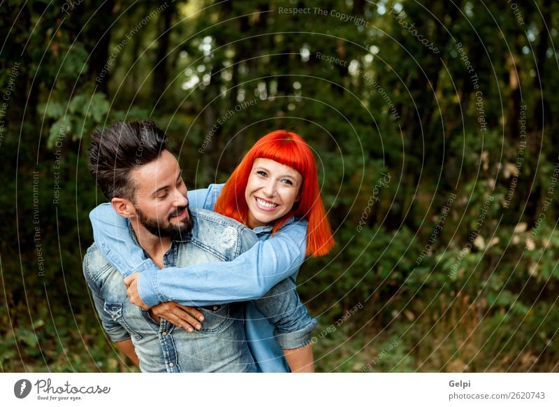Handsome guy giving piggyback Lifestyle Joy Happy Beautiful Leisure and hobbies Summer Human being Woman Adults Man Family & Relations Couple Red-haired Beard