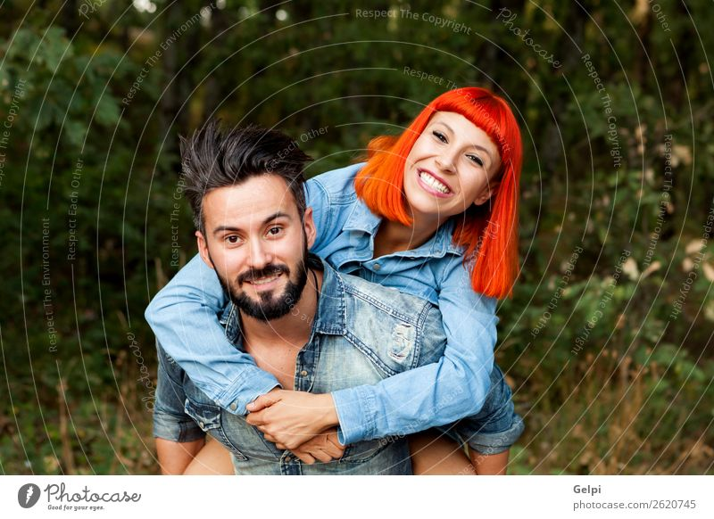 Handsome guy giving Lifestyle Joy Happy Beautiful Leisure and hobbies Summer Human being Woman Adults Man Family & Relations Couple Red-haired Beard Smiling