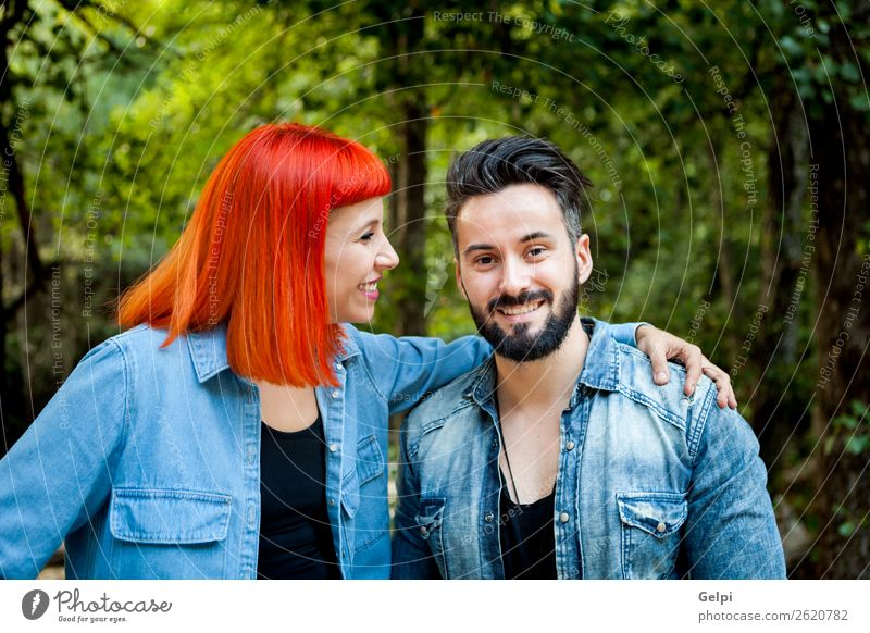 Young couple Lifestyle Style Happy Beautiful Leisure and hobbies Vacation & Travel Summer Woman Adults Man Family & Relations Couple Nature Landscape Park