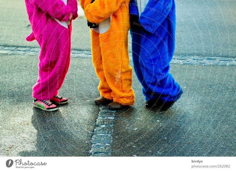 Human being Blue Colour Joy Yellow Street Movement Funny Feasts & Celebrations Style Legs Pink Stand Happiness Communicate Sidewalk