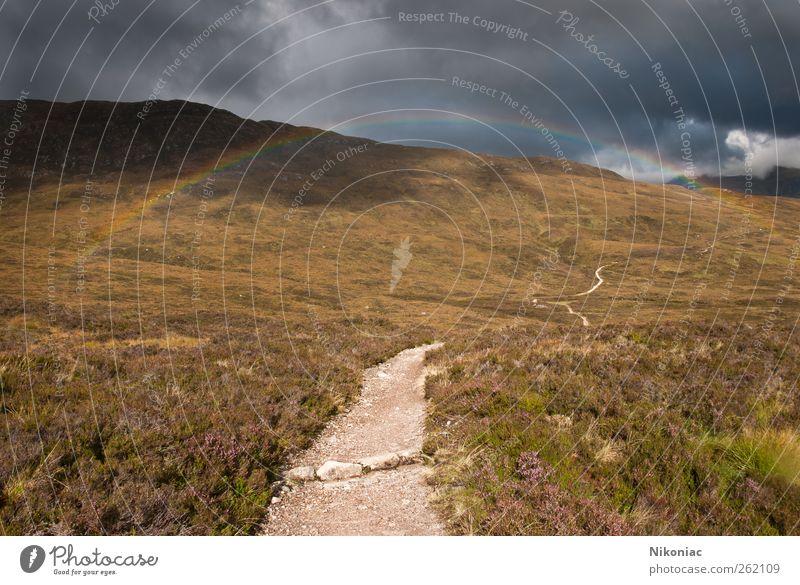 Nature Clouds Autumn Landscape Lanes & trails Weather Hill Rainbow Endurance Determination