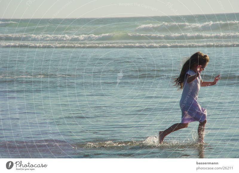 Woman Child Water Girl Ocean Beach Vacation & Travel Sweet Kitsch