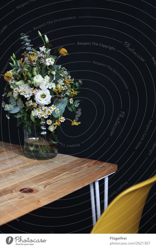 Plant Wood Yellow Wall (building) Blossom Decoration Sit Table Blossoming Kitchen Chair Rose Bouquet Furniture Vase Chamomile