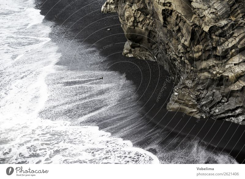 Coast at the Dyrholaey, Iceland Beach Ocean Waves Nature Landscape Water Rock Deserted Brown Gray Black White Grief Reynisdrangar Vik Dykes rock needles