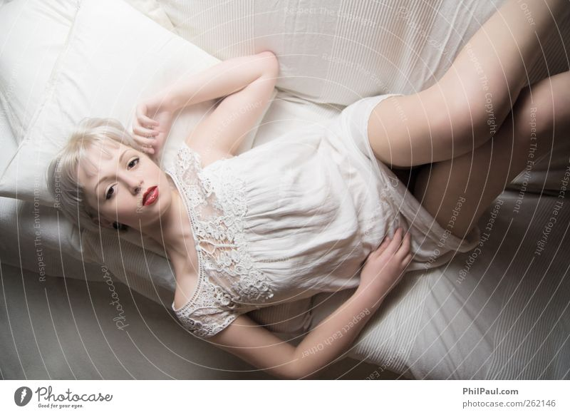 Human being Youth (Young adults) White Beautiful Adults Love Relaxation Life Feminine Eroticism Sadness Style Dream Contentment Blonde Lie