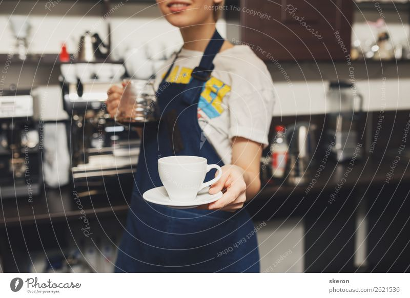 Barista holds out a Cup of coffee Nutrition Lunch Beverage Drinking Cold drink Hot drink Hot Chocolate Coffee Espresso Tea Plate Lifestyle Leisure and hobbies
