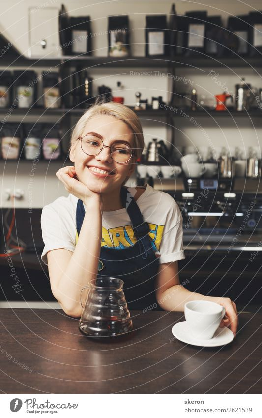 smiling Barista girl offers a Cup of coffee Human being Vacation & Travel Youth (Young adults) Young woman 18 - 30 years Eating Lifestyle Adults Feminine Party