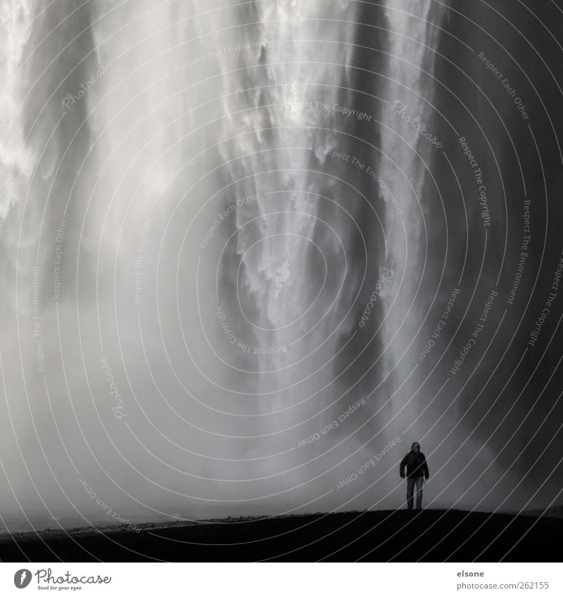 Human being Nature Water Cold Gray Rain Wind Fog Wet Drops of water Threat Elements Iceland Exotic Waterfall Gigantic