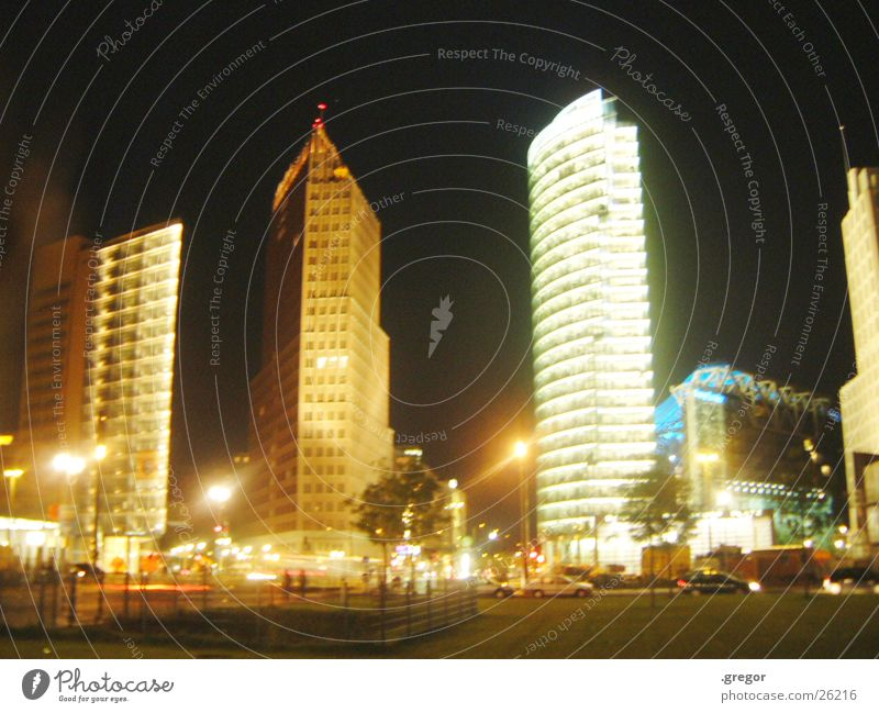 Potsdamer Square Potsdamer Platz Night Light Flashy High-rise Architecture Berlin
