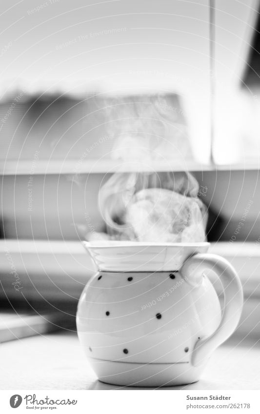 teatime Beverage Hot drink Drinking water Tea Fragrance Steam Haze Teapot Teabag Teatime Porcelain Window Window board Kitchen Table Black & white photo