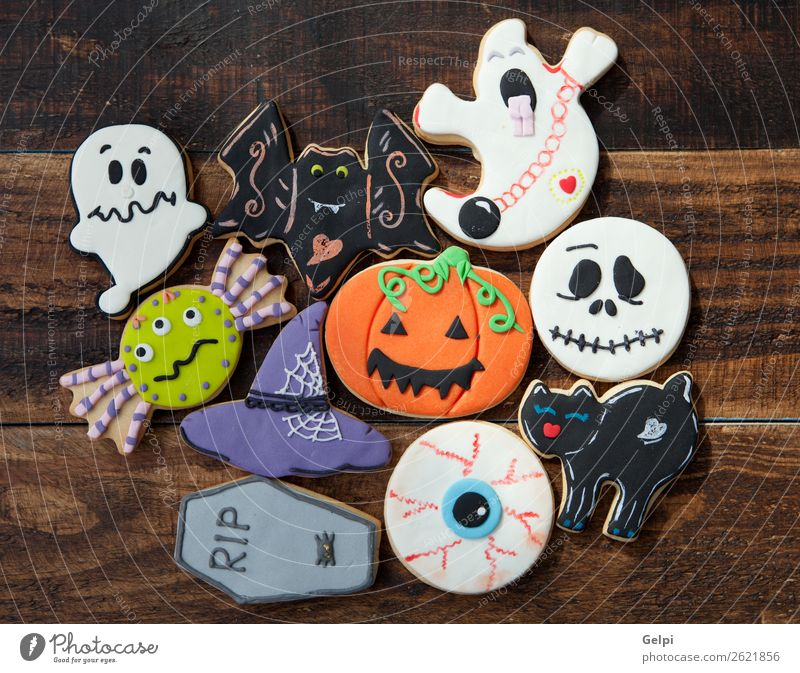 Happy Halloween Dessert Joy Decoration Feasts & Celebrations Hallowe'en Autumn Cat Spider Delicious Black White Fear holiday food Pumpkin Flour hat witch party