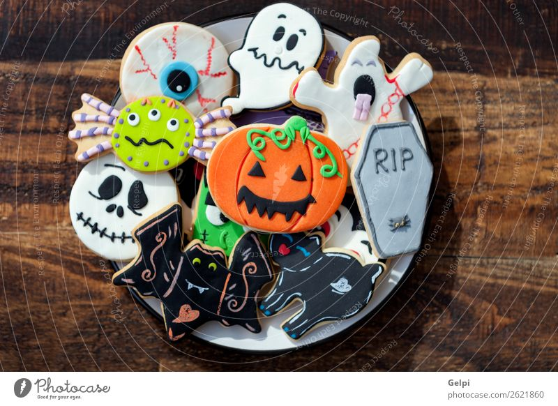 Happy Halloween Cat White Joy Black Autumn Feasts & Celebrations Decoration Fear Delicious Dessert Home Ghosts & Spectres  Plate Snack Sugar Hallowe'en
