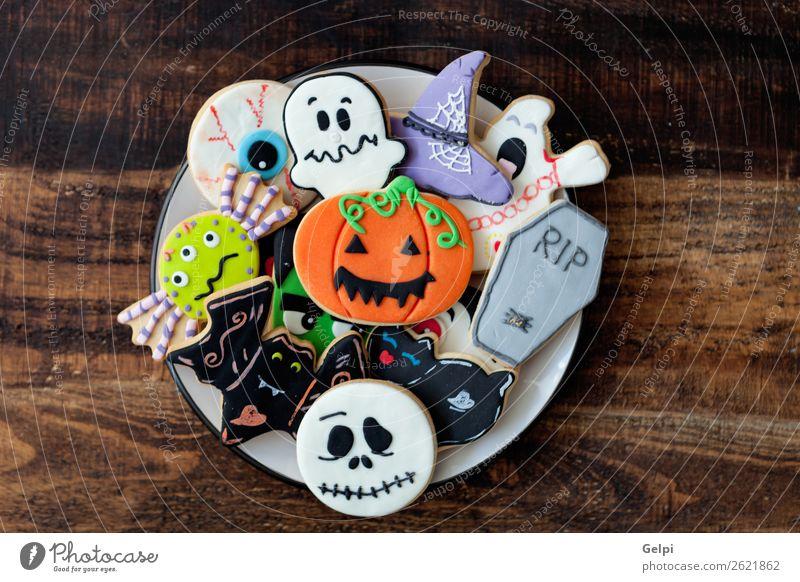 Happy Halloween Dessert Plate Joy Decoration Feasts & Celebrations Hallowe'en Autumn Cat Spider Delicious Black White Fear holiday food Pumpkin Flour hat witch