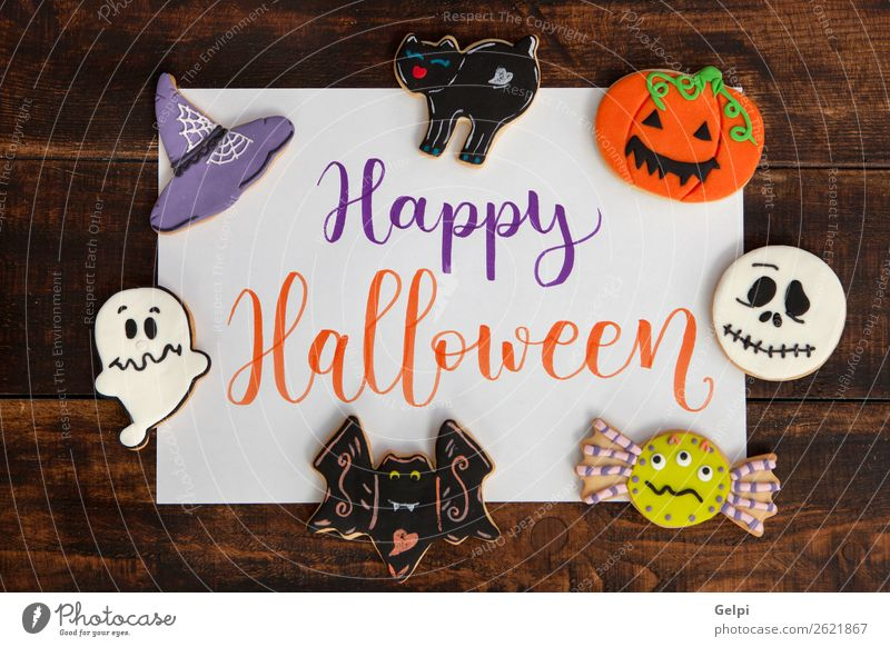 Happy Halloween Cat White Joy Black Autumn Feasts & Celebrations Decoration Fear Delicious Dessert Home Ghosts & Spectres  Snack Sugar Hallowe'en