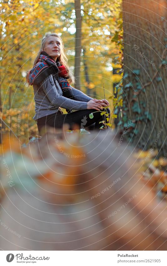 #A# Autumn view 1 Human being Esthetic Autumnal Autumn leaves Autumnal colours Early fall Automn wood Autumnal weather Woman Fashion Model Sit Exterior shot