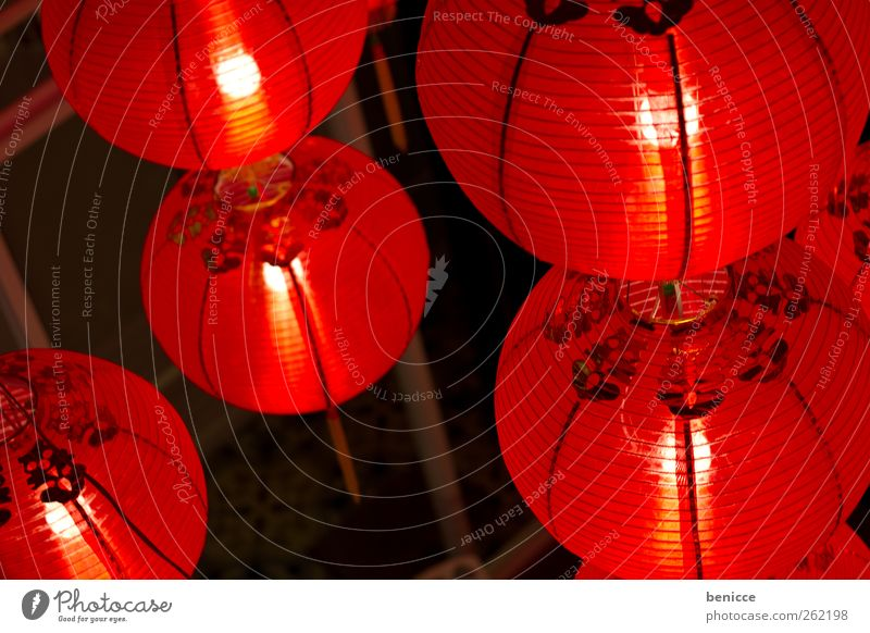 Red Colour Lamp Lighting Feasts & Celebrations Many Symbols and metaphors New Year's Eve Asia China Lampion Chinese Chinese New Year