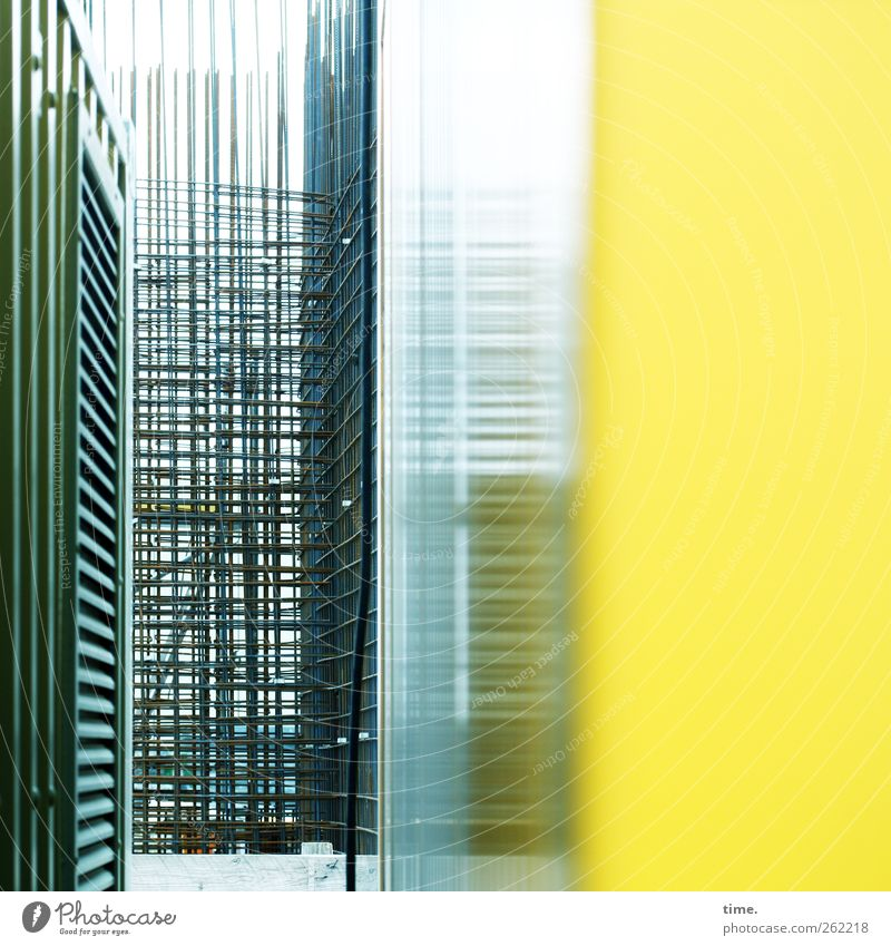 Yellow Architecture Facade Construction site Industry Technology Manmade structures Teamwork Container Effort Complex Precision