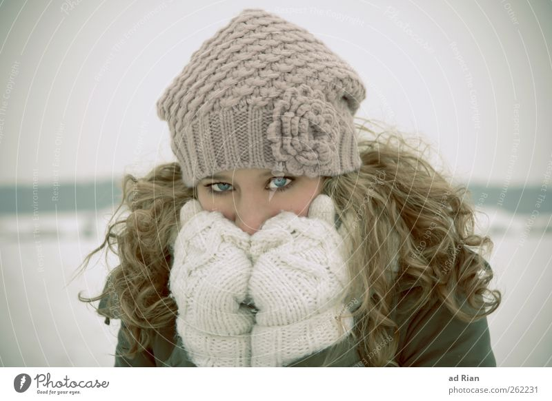 behind blue eyes Feminine Young woman Youth (Young adults) Hair and hairstyles Face Eyes 1 Human being 18 - 30 years Adults Winter Ice Frost Snow Freeze