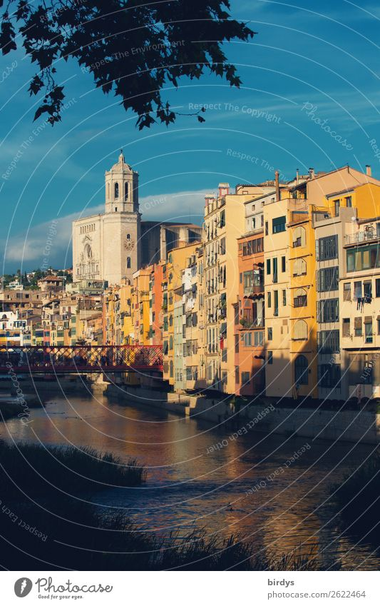 Girona, Catedral Santa Maria Living or residing Sky Sunlight Summer Tree River Onyar Catalonia Town Old town House (Residential Structure) Church Bridge