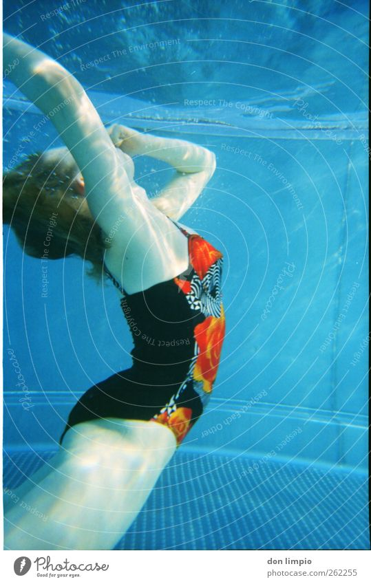 Woman Blue Water Beautiful Swimming & Bathing Retro Dive Analog Athletic Float in the water Aquatics Stretching Bubble Bend Swimsuit Keep sth. closed