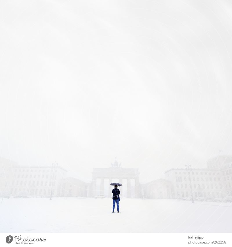Human being City Winter Berlin Snowfall Weather Body Wind Fog Facade Places Climate Tourism Stand Umbrella Skyline